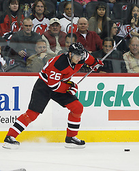 November 8, 2007; Newark, NJ, USA;  New Jersey Devils left wing Patrik Elias (26) takes a slap shot during the second period at the Prudential Center in Newark, NJ.