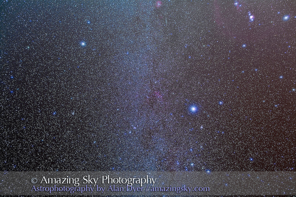 Canis Major, Canis Minor and Puppis area, with Canis Minor at top left. Orion is cut off at top right. This is a stack of 4 x 6 minute exposures at f/4 and ISO 800 with the Canon 5DMkII camera and Canon L-series 35mm lens. A fifth exposure thru Kenko Softon filter added the star glows. Taken from San Pedro de Atacama, Chile, May 2011.