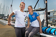 Team GBR Olympic sailing team members Charlotte Dobson (right) and Sophie Ainsworth pictured on day one of the ISAF Sailing World Cup at the Weymouth and Portland National Sailing Academy, Weymouth. The pair sail in the 49erFX class. PRESS ASSOCIATION Photo. Picture date: Wednesday June 8, 2016. See PA story SAILING World Cup. Photo credit should read: Chris Ison/PA Wire.