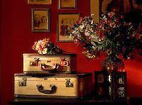 Still life of luggage, flowers and old photographs against orange background