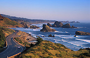 Highway 101 and Pistol River State Park with offshore sea stacks, from Cape Sebastian, southern Oregon coast.