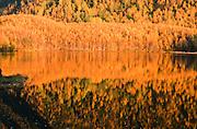Alaska. Bright fall colors reflecting against Mirror Lake.
