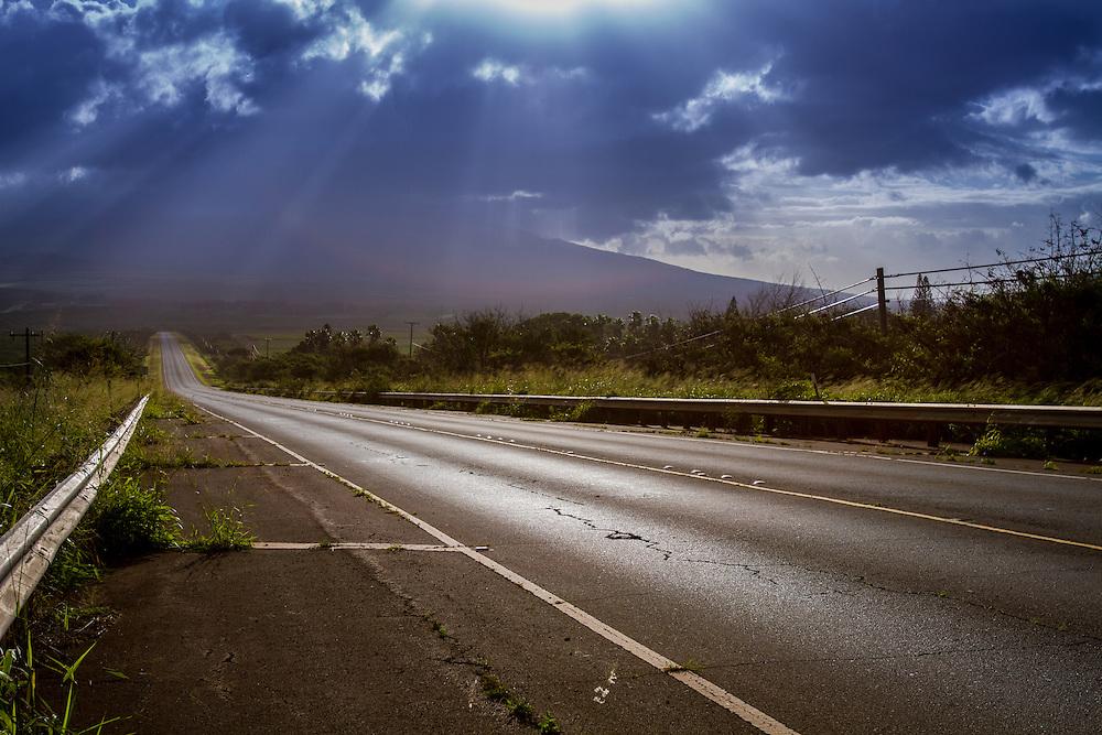 Maunaloa Highway at rush hour.  Molokai, Hawaii