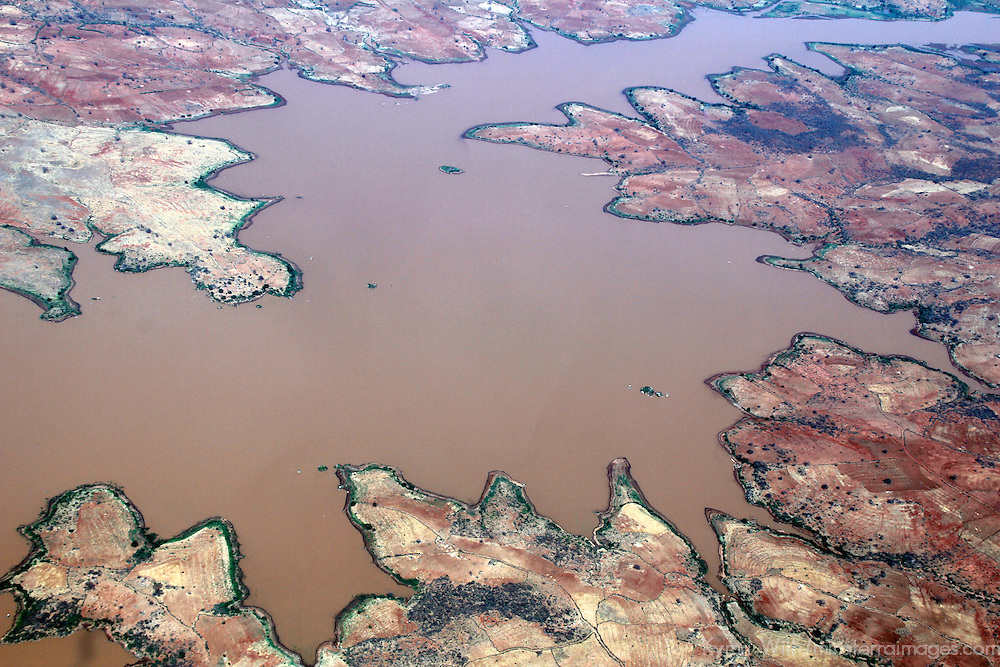 Africa, Kenya. An aerial view of a lake in the Great Rift Valley.