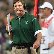 SHOT 8/31/08 6:27:52 PM - Colorado State head football coach Steve Fairchild works the sidelines during the first half of their 2008 Rocky Mountain Showdown game against Colorado at Invesco Field at Mile High in Denver, Co. Colorado won the game 38-17 before a crowd of nearly 70,00. The rivalry game featured the debut of new Colorado State head football coach Steve Fairchild and the debut of highly recruited Colorado tailback Darrell Scott. Fairchild was the offensive coordinator for the Buffalo Bills last year. Fairchild graduated from Colorado State University in 1980 with a degree in economics..(Photo by Marc Piscotty / © 2008)