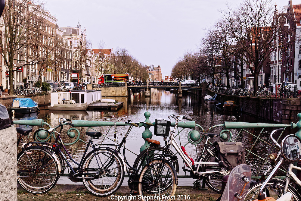 A street and canal scene from Amsterdam.