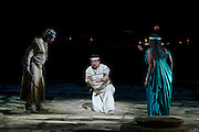 22.02.2012. London, UK. A brand new production of Giuseppe Verdi's awe-inspiring masterpiece, Aida, directed by Stephen Medcalf. The drama unfolds in the very heart of the Royal Albert Hall, drawing the audience in from all sides. With a combined cast of over 120 soloists, chorus, actors and dancers, and with Aida played by Indra Thomas and Radames by Marc Heller. Picture shows Indra Thomas as Aida,  Radames by Marc Heller and Tiziana Carraro as Amneris. Photo credit : Tony Nandi