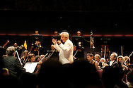 UK. London. Christoph von Dohnanyi takes the applause after contucting the Philharmonia Orchestra in Brahms Symphony No.3 in F major at the Royal Albert Hall during the BBC's Proms, in London..Steve Forrest/Workers' Photos