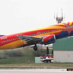 Linthicum MD - Southwest Airlines Arizona One, a Boeing 737 painted with a state theme, takes off from BWI Thurgood Marshall Airport. SWA announced summer service from BWI to New York La Guardia Airport today. Credit Marty Katz/Pictureserver.com