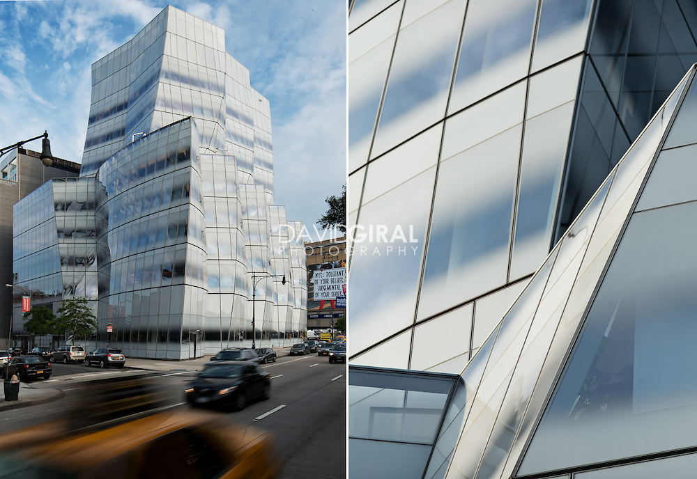 architecture photography: InterActiveCorp's headquarters (IAC building) designed by architect Frank Gehry located at 550 West 18th Street on the corner of Eleventh Avenue in the Chelsea neighborhood of Manhattan, New York City, NYC