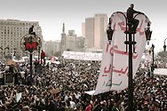 Thousands of Egyptians demonstrators gather on Tahir Square in Cairo to claim removal of president Mubarak.<br /> 01 February 2011.