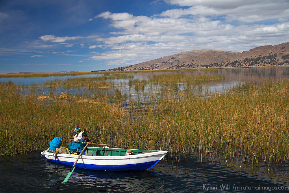 South America, Peru, Lake Titicaca. Boat on Lake Titicaca near Puno.