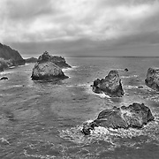 Arch Rock Point South Overlook Rocks - Oregon Coast - HDR - Black & White