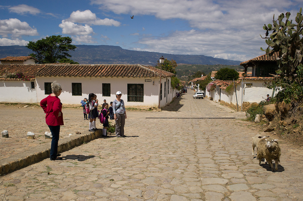 There are plenty of sheep and children in Villa de Leyva, Boyacá, Colombia.