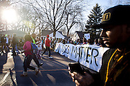 Protestors march towards the Governor's Mansion in Madison, Wisconsin demanding justice for the death of Tony Robinson, Jr., March 11, 2015. Protestors rallied for the fifth day in a row, after Robinson's death by Madison Police inside his home on March 6, 2015. REUTERS/Ben Brewer (UNITED STATES)