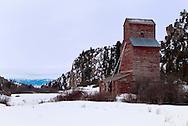 Montana Elevator Company, abandoned grain elevator in Springhill, north of Bozeman, Montana