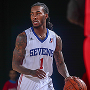 Delaware 87ers Guard CAT BARBER (1) dribbles down the floor in the first half of a NBA D-league regular season basketball game between the Delaware 87ers and the Grand Rapids Drive (Detroit Pistons) Tuesday. Nov. 29, 2016 at The Bob Carpenter Sports Convocation Center in Newark, DEL.
