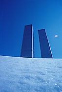 NYC, NY, World Trade Center, Twin Towers, designed by Minoru Yamasaki, International Style II, construction site