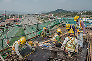 Malaysia / Kuala Lumpur / 10/11th March 2014<br /> <br /> VSL / Creation of the Sungai Buloh - Kajang Line (Blue Line) for MRT Malaysia / Construction sites / Section V7 - Bridge -Erection &amp; PT / Workers at the tower<br /> <br /> &copy; Daniele Mattioli / CAPA Pictures