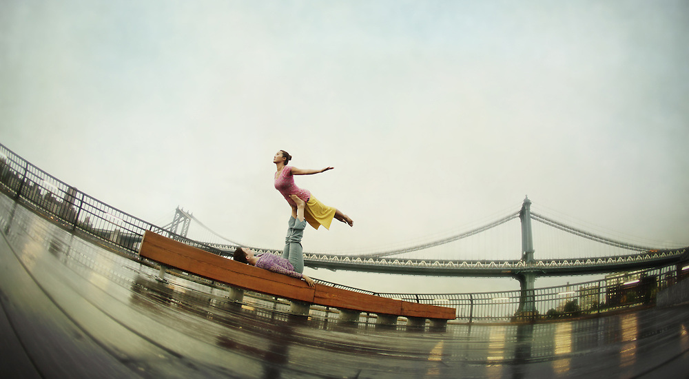 Meryl Bezrutczyk &amp; Minhee Cha in front of Manhattan Bridge, New York<br /> <br /> Yoga in New York Project. <br /> Sponsored by Yoga Journal and Hanuman Clothing Yoga in New York Project. <br /> In partnership with Yoga Journal Conferences and Hanuman Yoga Clothing