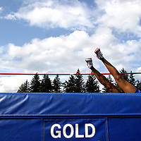 High Jump&amp;#xA;Janetta Hinds of Olympic High School clears the bar at 4' as the girls high jump event gets underway at the South Kitsap Invitational held at South Kitsap High Schol in Port Orchard.<br />