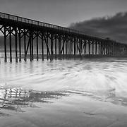 San Simeon Pier Incoming Tide - Dusk -  Black & White