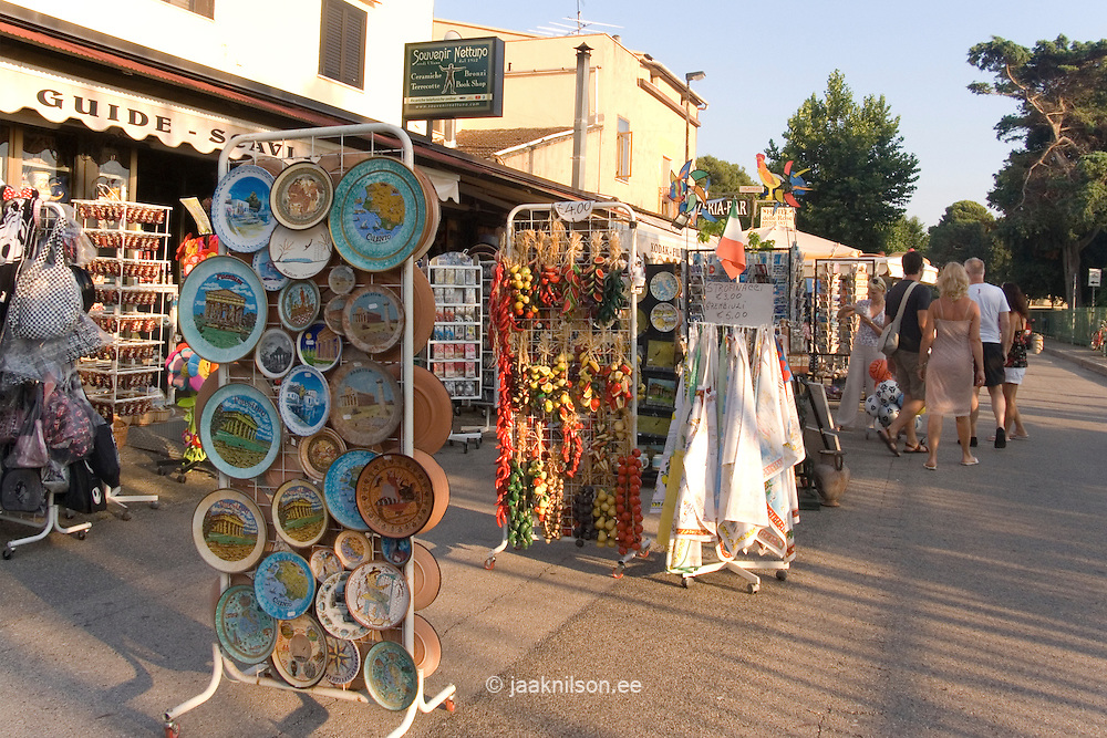 Street trading in Paestum, Campania, Italy. Shop, sale.