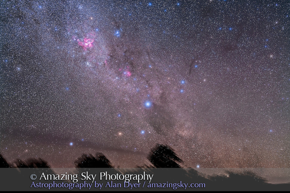 Southern Cross and Carina rising, December 2012, shot through some cloud which added glows around stars. This is a stack of 4 x 4 minute exposures with Sigma 50mm lens at f/3.2 and Canon 5D MkII at ISO 800. Taken from Timor Cottage, Coonabarabran, Australia.