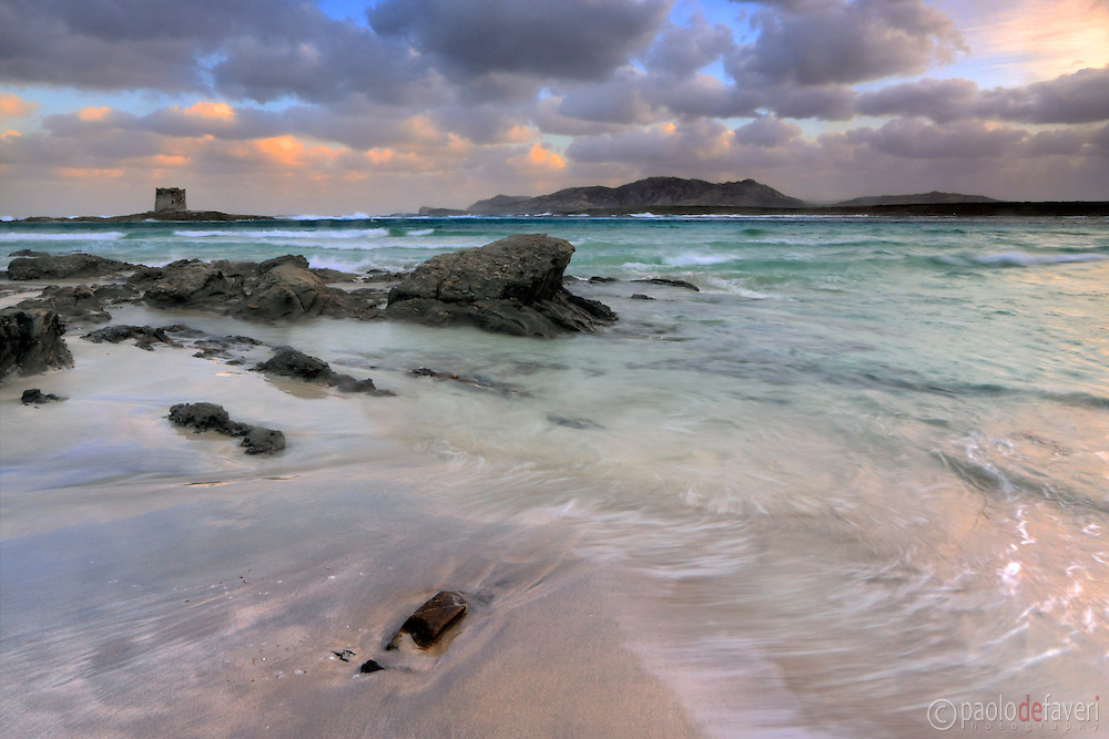 A view at sunrise of the wonderful, tropical-like beach of La Pelosa nearby Stintino in Sardinia, Italy, with the XVI century Genovese watch tower and the rocky cliffs of Asinara in the background. Taken at dawn on a wonderful morning of mid September, while the sky was clearing of after a powerful storm in the night.
