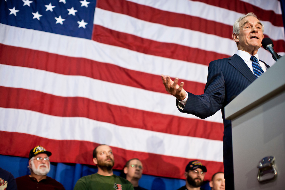 Republican presidential candidate Ron Paul speaks at a Salute to Veterans Rally on Wednesday, December 28, 2011 in Des Moines, IA.