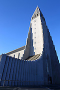 The wonderful Hallgrímskirkja, a striking landmark in central Reykjavik, Iceland. The church was designed by Guðjón Samúelsson in 1937 and is 74.5m high.