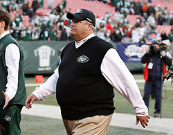 Nov 29, 2009; East Rutherford, NJ, USA; New York Jets head coach Rex Ryan walks off the field after the Jets win at Giants Stadium. The Jets defeated the Panthers 17-6.