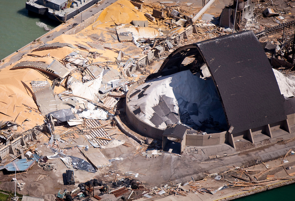 Severe damage is seen at the Sifto salt mine Monday, August 22, 2011, after a tornado ripped through the facility in Goderich, Ontario, Sunday killing one worker.<br /> THE CANADIAN PRESS/ Geoff Robins