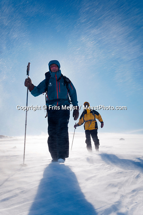 Saltoluokta Mountain Station, Jokkmokk, Lapland, Sweden, March 2013. Extreme winds cause a blinding blizzard with a windchill factor of close to -40C. Arctic survival training and winter bushcraft  in the frigid mountains of the Stora Sjofallet National Park and Sarek National Park with mountain guide Claes Jorgen Pohl.  Photo by Frits Meyst/Adventure4ever.com