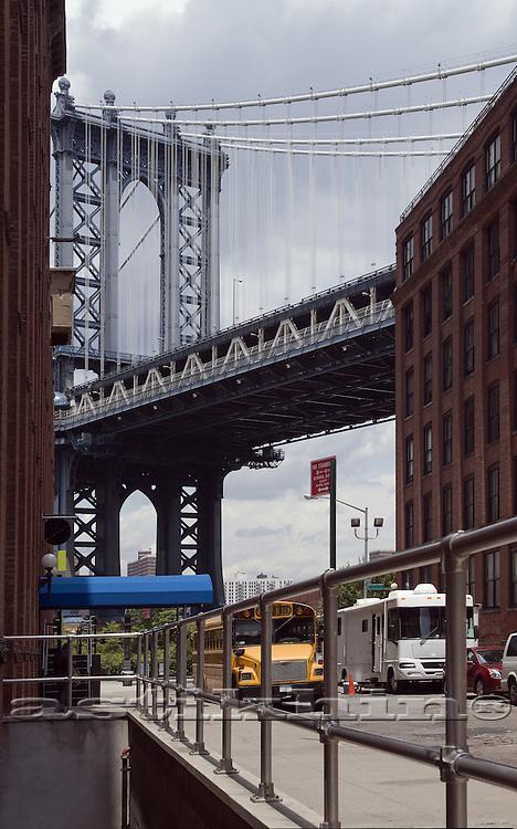 Street of Brooklyn with view to Manhattan Bridge