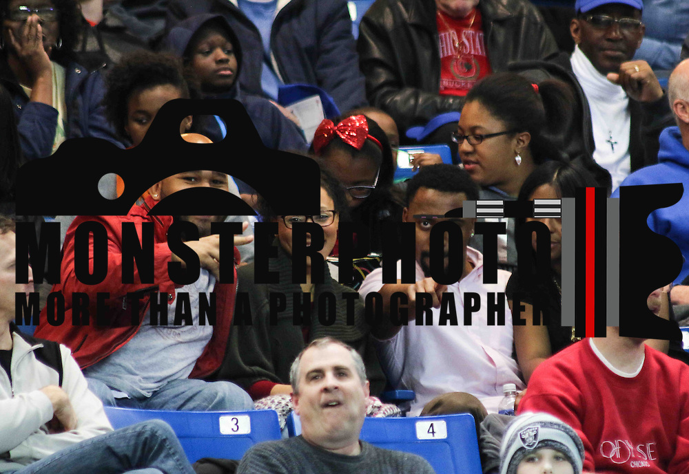 Left to Right Eddie, Janna Chavis, Jeremiah Guy and Christian Church seen enjoying the in first half of a NBA D-league regular season basketball game between the Delaware 87ers and the Erie BayHawk (Orlando magic) Friday, Jan. 02, 2015 at The Bob Carpenter Sports Convocation Center in Newark, DEL