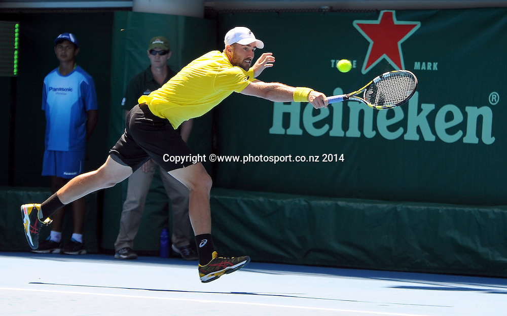 Steve Johnson of the USA during the Heineken Open Day1. ASB Tennis Centre, Auckland, New Zealand. Monday 6 January 2014. Photo: Chris Symes/www.photosport.co.nz