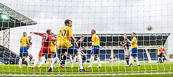 Falkirk's David McCracken scoring their fifth goal.<br /> Falkirk 6 v 0 Cowdenbeath, Scottish Championship game played at The Falkirk Stadium, 25/10/2014.