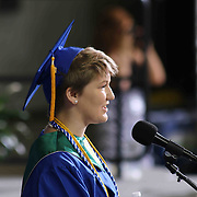 Thomas McKean High School graduate Ivy Janocha addresses students and family during McKean 49th commencement exercises Saturday, June 06, 2015, at The Bob Carpenter Sports Convocation Center in Newark, Delaware.