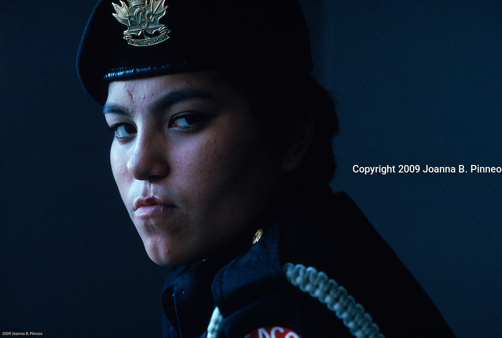 "Vicky Palvialok is the top cadet  in the Army Cadet Corps in Canada and has become a top student overcoming a difficult background. Sandy Buchanan, Renewable Resource Officer in Coppermine called the Corps ""one of the bright spots for teens in Cambridge Bay."" The kids have little to do and the Corps gives them self esteem, discipline, and direction. Aurora image #1891407601"