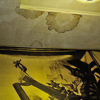 Conference on Disarmament. Year 34, 2013 Session 1, Plenary meeting 1281. Presidency of India.<br /> <br /> Decaying ceiling of the Council Chamber. The chamber is older than the UN having been originally constructed to seat the League of Nations.