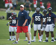 Ole Miss assistant coach Dave Wommack at football practice in Oxford, Miss. on Saturday, August 3, 2013.