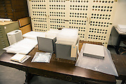 Here, all of the materials needed to store &quot;large format&quot; negatives in long-term cold storage are laid out on a table in the archives. This photograph was taken on March 6, 2015. As of March 2017, over 3,000 negatives have been moved into long-term cold storage. Cold storage adds hundreds of years onto the lifespan of these image collections.<br />