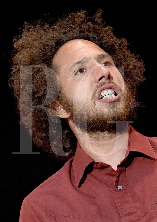 Rage Against the Machine play the main stage at the T in the park festival, Scotland 2008.Pictured is Zack de la Rocha lead singer