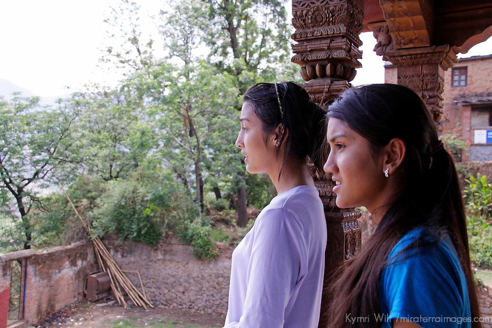 Asia, Nepal, Kathmandu. Nepali girls overlook Kathmandu.