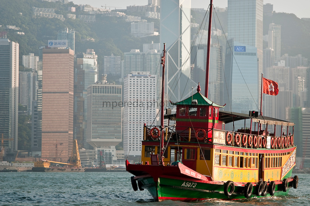 CHINA (Hong Kong). 2009.Turistic boat in Hong Kong.