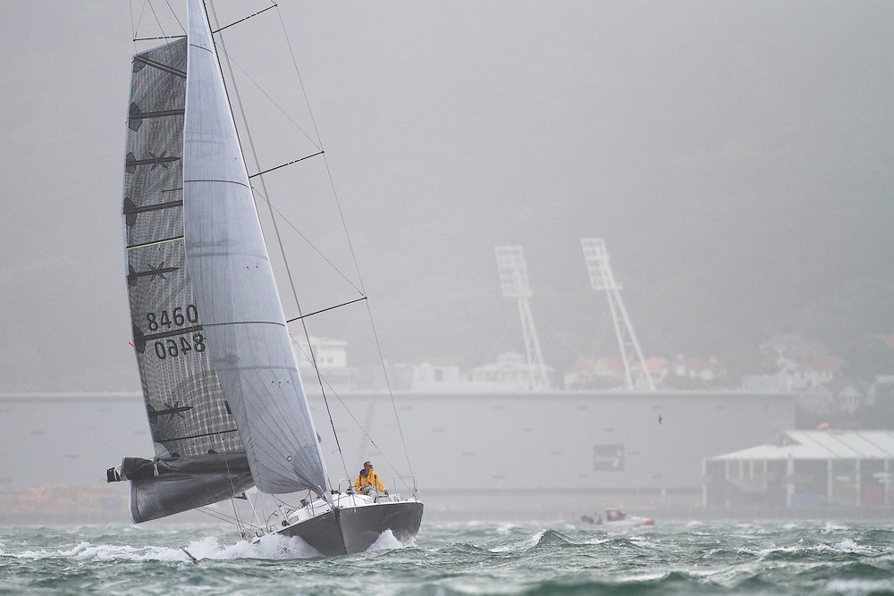 M1 sailed by Craig Partridge and David Austin at the Wellington restart of Round North Island two-handed yacht race. Wellington, New Zealand. 2 March 2011. Photo: Gareth Cooke/Subzero Images