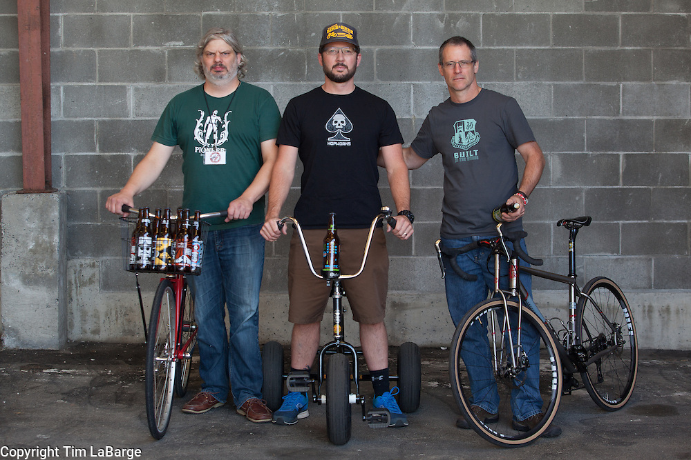 Jason Gayton, Christian Ettinger and David Levy at the Handmade Bike and Beer Festival at Hopworks Urban Brewery in Portland, Oregon. Image by Tim LaBarge