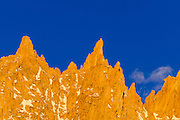 Spires on the Sierra crest near Mount Whitney, John Muir Wilderness, California