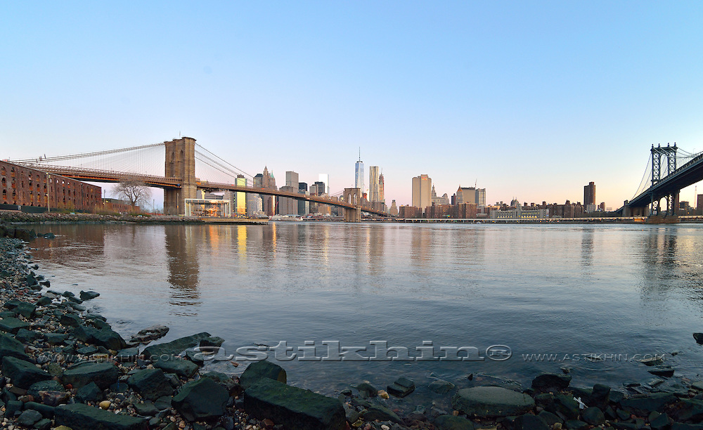 East River and two bridges, view from Brooklyn.